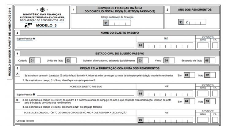 Declaração Modelo 3 de IRS em vigor a partir de janeiro de 2019 - Alterações